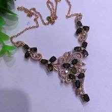 Natural dark blue sapphire Necklace Natural Gemstone Pendant Necklace 925 sliver women Luxury trendy Flowers women party Jewelry