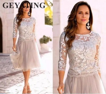 Silver Grey Short Mother of the Bride Dresses Plus Size 3/4 Long ...