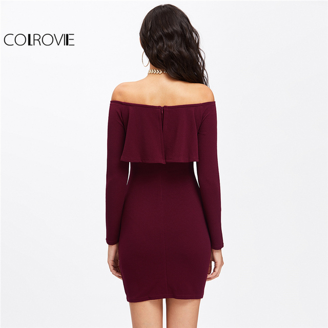 COLROVIE Long Sleeve Mini Dress Womens Autumn Winter Dresses Women Sexy Party Burgundy Off The Shoulder Ruffle Bodycon Dress