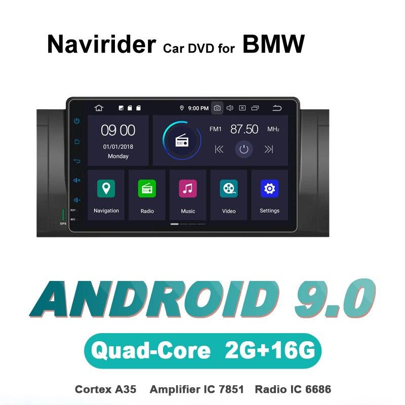 Navirider autoradio gps navigation android 9.0 autoradio pour BMW E39 M5 X5 E53 lecteur DVD aux bluetooth stéréo auto accessoires