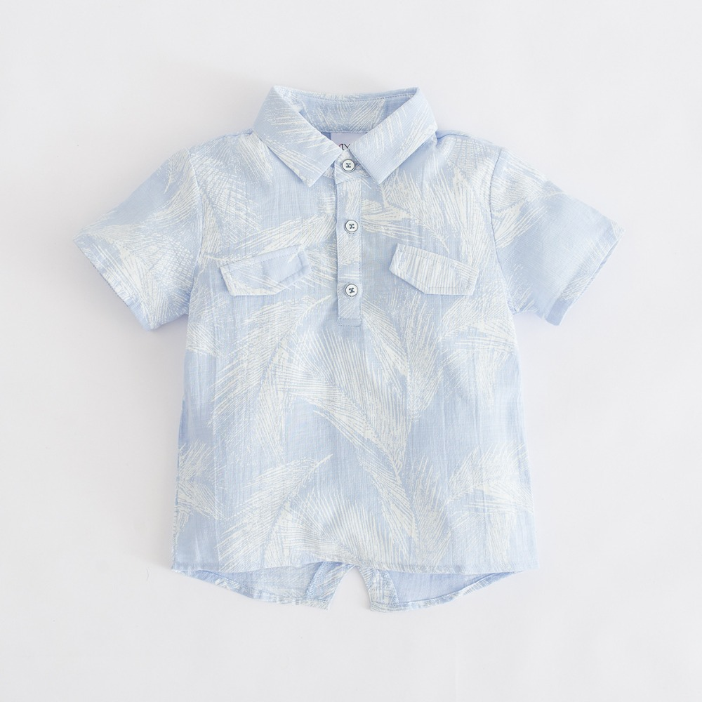 Shirt Clothing Short-Sleeve-Clothes Feather-Print Baby-Boys Cotton Children's Summer