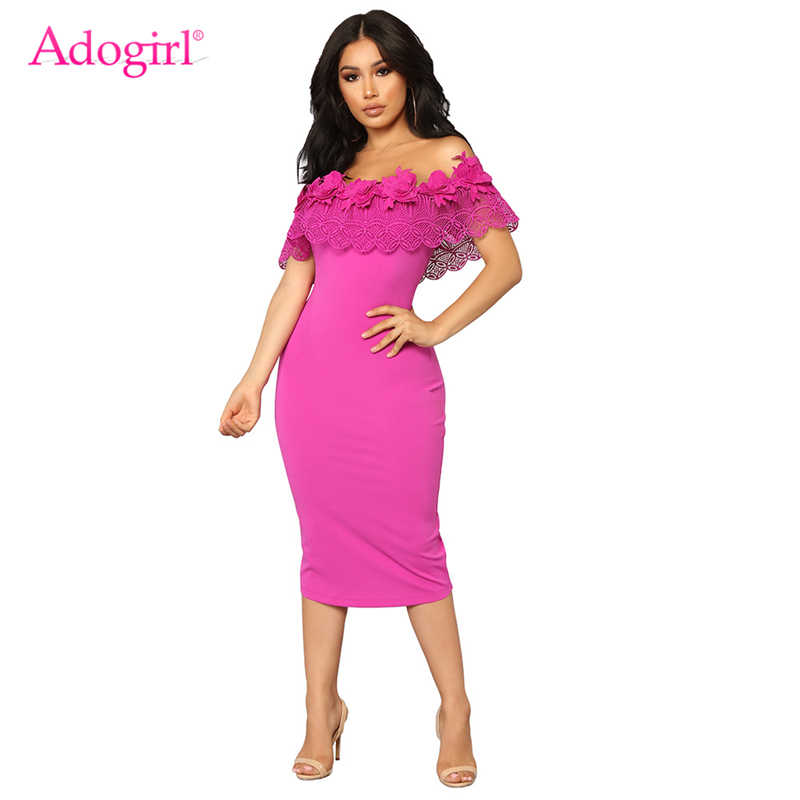 Adogirl 3D Flowers Applique Lace Ruffle Midi Party Dress for Women Elegant  Sexy Slash Neck Bodycon 55cda61e0b48