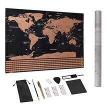 Большой размер Скретч Карта мира путешествия Премиум персонализированные настенные стикеры плакат флаги всех стран Подарочная посылка для путешественников