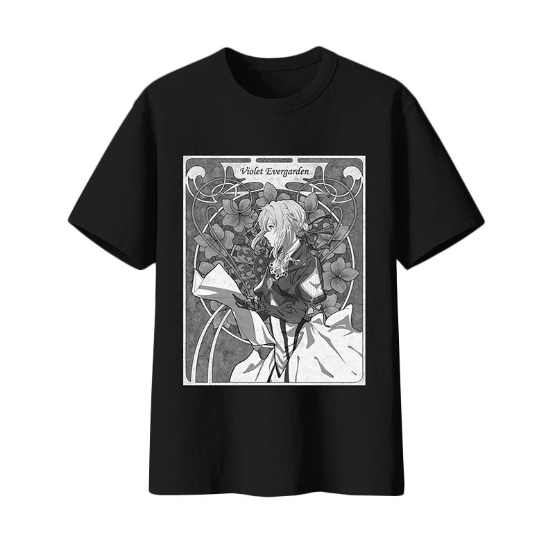 Anime Violet Evergarden T-shirt Cosplay Costume Summer Men Women Black White Casual T shirt Short Sleeve Tees