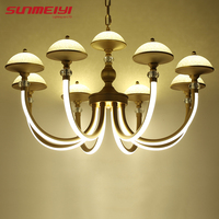 American Gold Crystal Chandelier Lighting Fixtures Creative Glass LED Chandeliers For Dining Room Lamparas De Techo