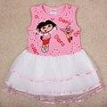 Vestidos da menina de flor do bebê verão 2017 dora criança roupa da menina vestidos de noite do bebê cheque criança traje das crianças das crianças meninas vestir