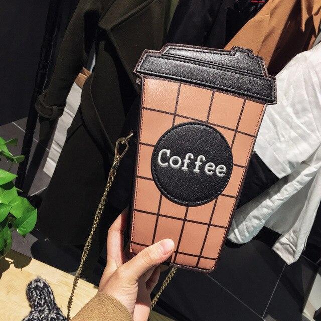 Xícara de café personalidade bolsa de ombro carta projeto cor hit da manta mini cadeia de embreagem senhoras bolsa saco do mensageiro pu