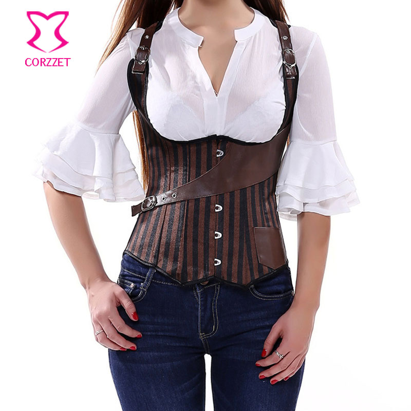 Brown Striped Satin Gothic Sexy Underbust   Corsets   And   Bustiers   Steel Bone Steampunk   Corset   Vest Top Vintage Burlesque Clothing
