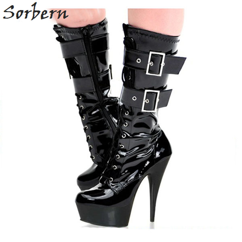 Sorbern Ankle Boots For Womens Patent Leather Buckle Strap Lace Up China 35-46 Custom Made Color Platform Boots For Ladies lace up cross strap buckle ankle boots