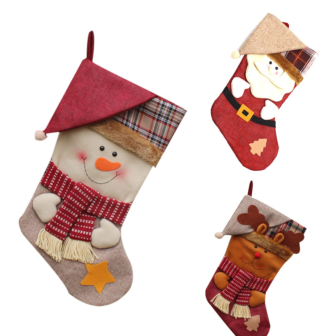 new year christmas stockings socks plaid santa claus candy. Black Bedroom Furniture Sets. Home Design Ideas