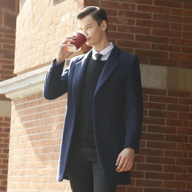 ed71b19e58b4 Size Custom Made Mens Clothing Design Winter Long Woolen Overcoat Male Navy  Blue Plus size 6XL Wool Coat Top Quality Outerwear -in Wool   Blends from  ...