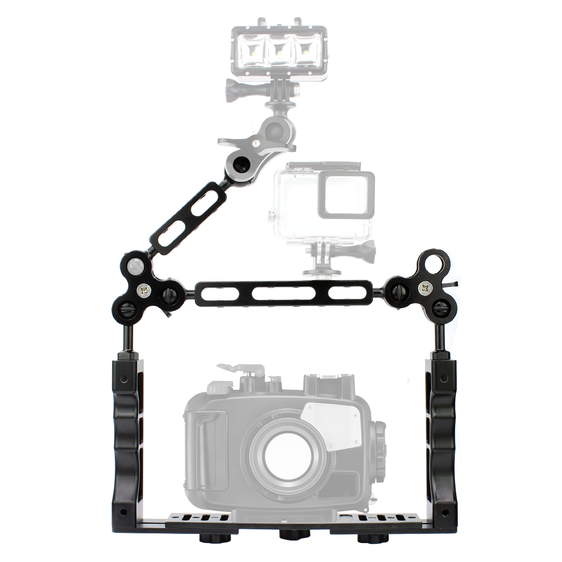 CNC Scuba Diving Underwater Light Arm System Triple Clamp Tray Bracket Handle Grip Stabilizer Rig for