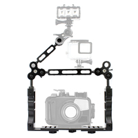 CNC Scuba Diving Underwater Light Arm System Triple Clamp Tray Bracket Handle Grip Stabilizer Rig for Video Gopro DSLR Cam Torch