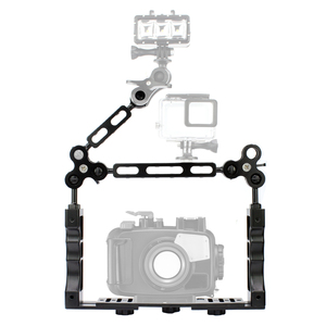 Image 1 - CNC Scuba Diving Underwater Light Arm System Triple Clamp Tray Bracket Handle Grip Stabilizer Rig for Video Gopro DSLR Cam Torch