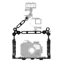 CNC Scuba Tauchen Unterwasser Licht Arm System Triple Clamp Fach Bracket Griff Grip Stabilisator Rig für Video Gopro DSLR Cam taschenlampe