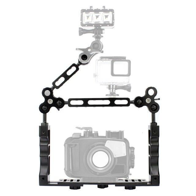 Sistema de brazo de luz subacuática CNC para buceo soporte de bandeja de Triple abrazadera, mango estabilizador de agarre para Video Gopro DSLR Cam Torch