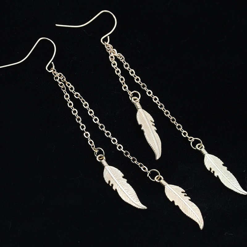 EK982 nouvelle bohême Vintage Dangle boucle d'oreille plume feuilles feuille longue gland feuille goutte boucles d'oreilles bijoux de mariage Brincos Pendientes