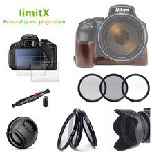 Accessoires kit Half Body Leather Case + Filter set + Zonnekap + Lens Cap + Glass LCD Protector voor nikon P1000 Digitale Camera