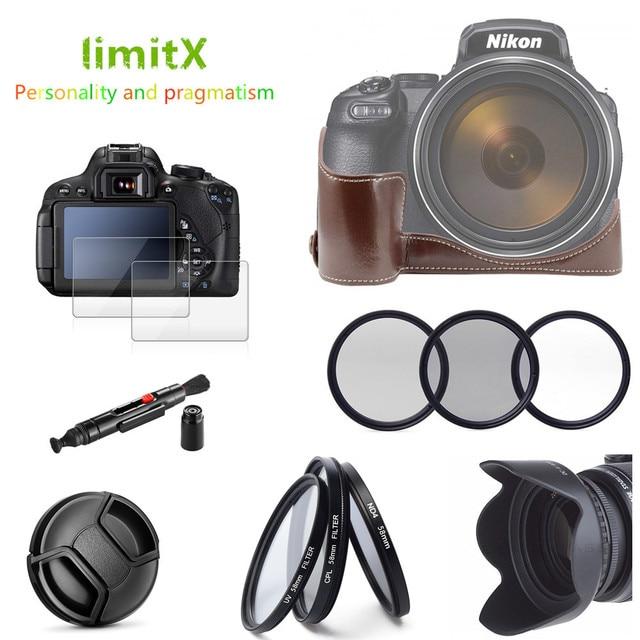 Accessories kit Half Body Leather Case + Filter set + Lens Hood + Lens Cap + Glass LCD Protector for Nikon P1000 Digital Camera