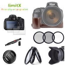 Kit daccessoires demi boîtier en cuir + ensemble de filtres + pare soleil + capuchon dobjectif + protecteur LCD en verre pour appareil photo numérique Nikon P1000