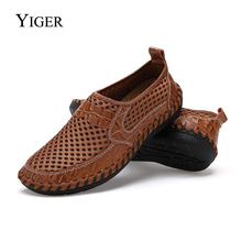 YIGER New Men Net Shoes Genuine Leather Summer Casual Men Sandals Men Loafers shoes Lazy Style  Breathable Large Size 38-48 0060