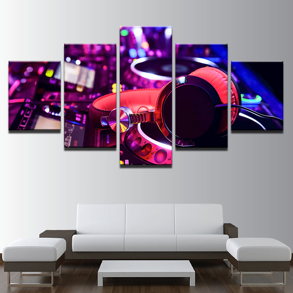 Wall Art Canvas Paintings Home Decor Framework 5 Pieces DJ Music Instrument Mixer And Headphones Pictures Bar Posters Night Club
