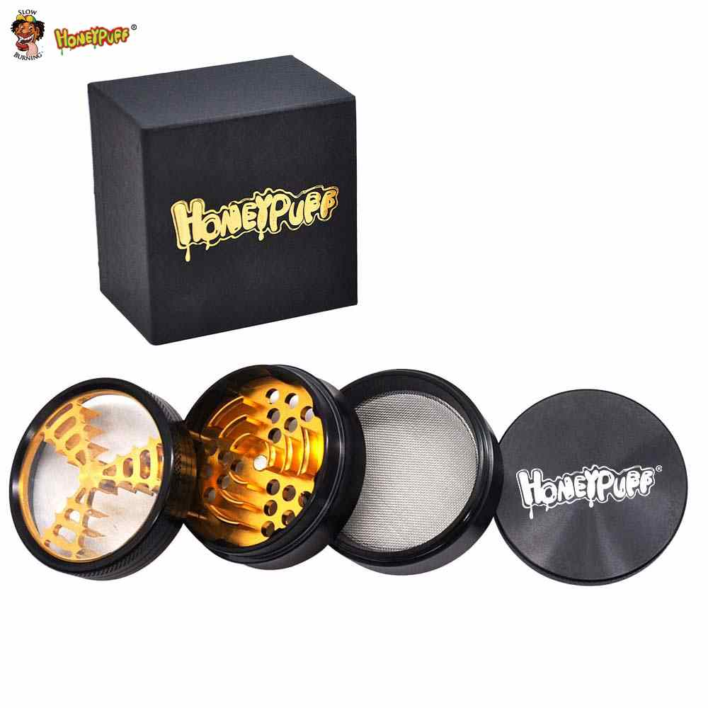 HONEYPUFF Skull Crown Herb Grinder Aluminum  63 MM 4 Layers Tobacco With Sharp Blade Teeth Spice Crusher Miller