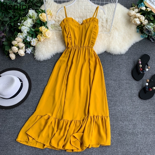 2019 Summer Solid Women Dress