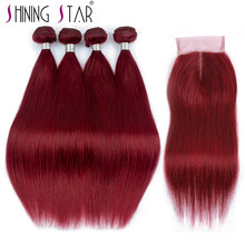 Shinngstar 4 99J Red Bundles With Closure Straight Human Hair Weave Malaysian Wine Burgundy Bundle With Closure Nonremy Freegift(China)