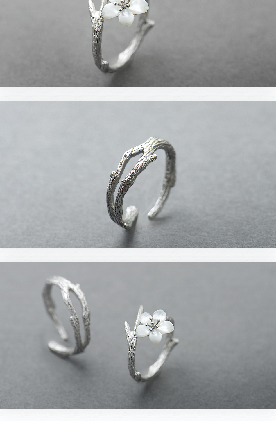 HTB1t.OjKeOSBuNjy0Fdq6zDnVXao Thaya White Cherry Blossom Silver Ring s925 Silver Natural Pearl Shell Flower Branch Rings for Women Elegant Ladies Jewelry