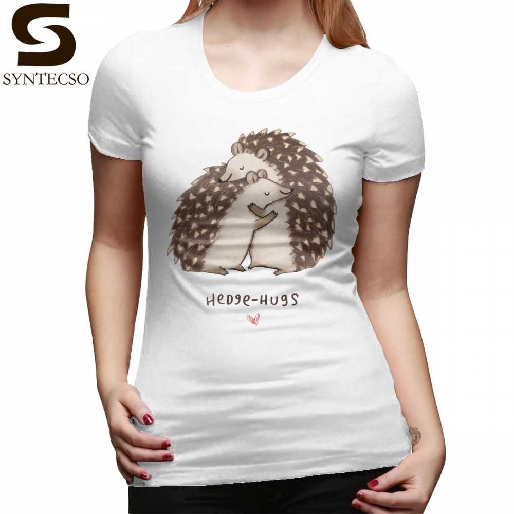 Sweet T-Shirt Hedge Hugs T Shirt Street Fashion Large size Women tshirt O Neck Short-Sleeve Graphic Cotton Ladies Tee Shirt