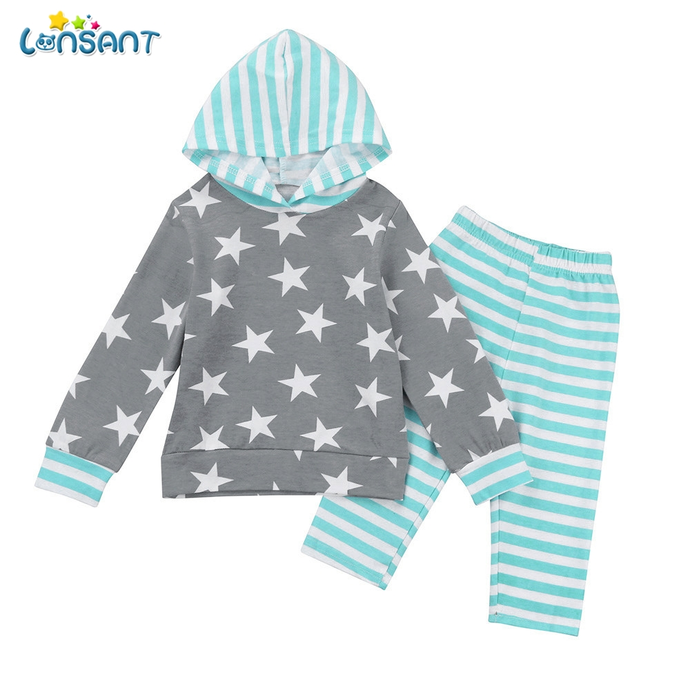 LONSANT Autumn Winter Toddler Baby Boy Girl Clothes Set Star Print Hoodie Tops+Pants Long Sleeve Outfits Fashion Clothes
