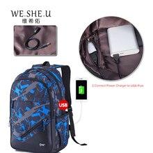 WESHEU boys school bags waterproof large backpack for teenagers bagpack high school backpack for boy student Laptop backpack