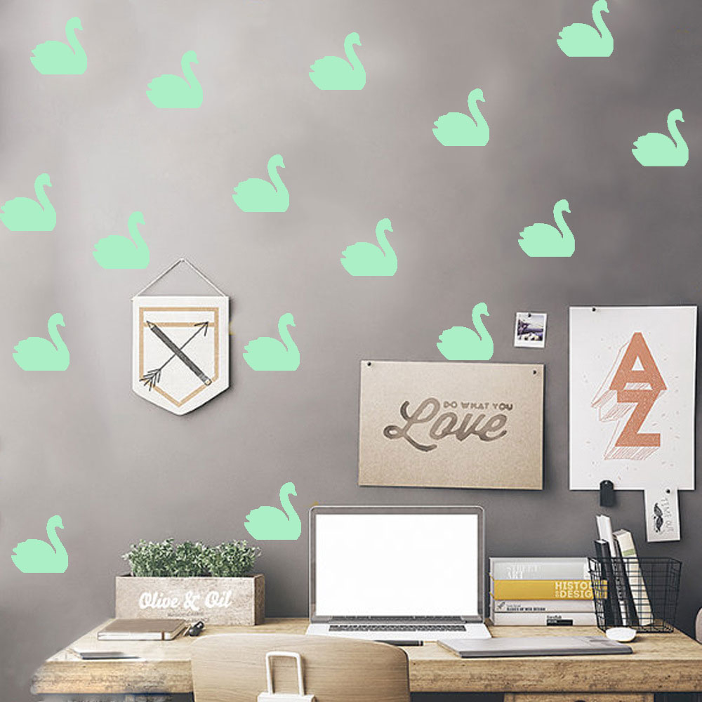 Free Shipping Eco-friendly Self-adhesive Wall Decals Nordic Style Swan Glowing Stickers For Kid`s Room Livingroom And Shops