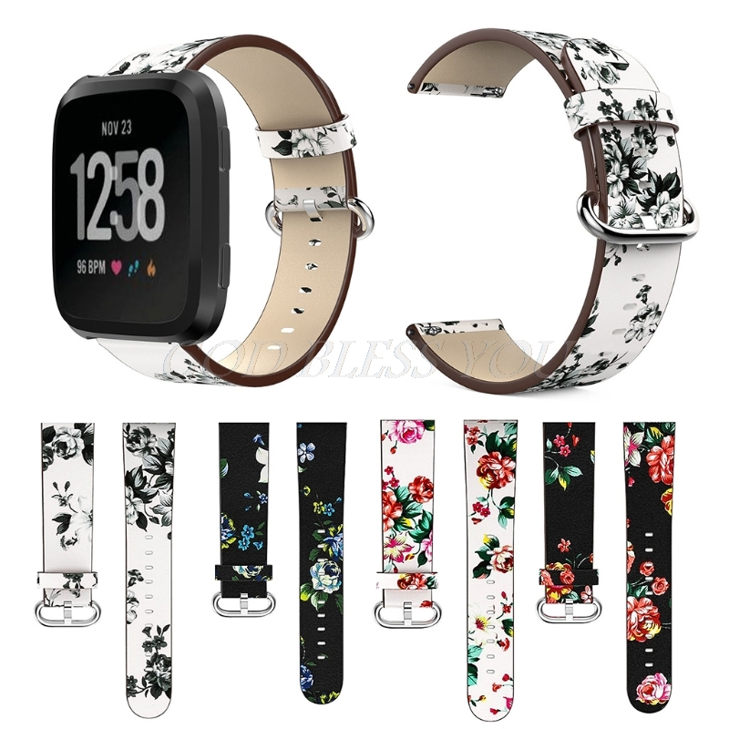 Leather Strap Peony Print Watch Band Replacement For Fitbit Versa Smart Bracelet