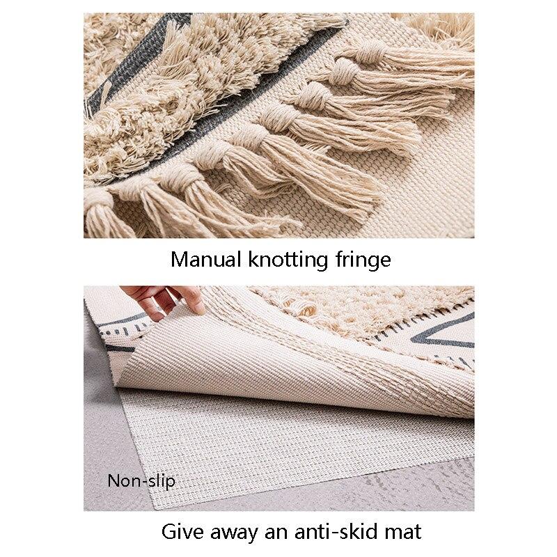 Tapis marocain tufté en coton tissé à la main glands confortables imprimé tapis de sol intérieur pour chambre à coucher, salon avec antidérapant - 5