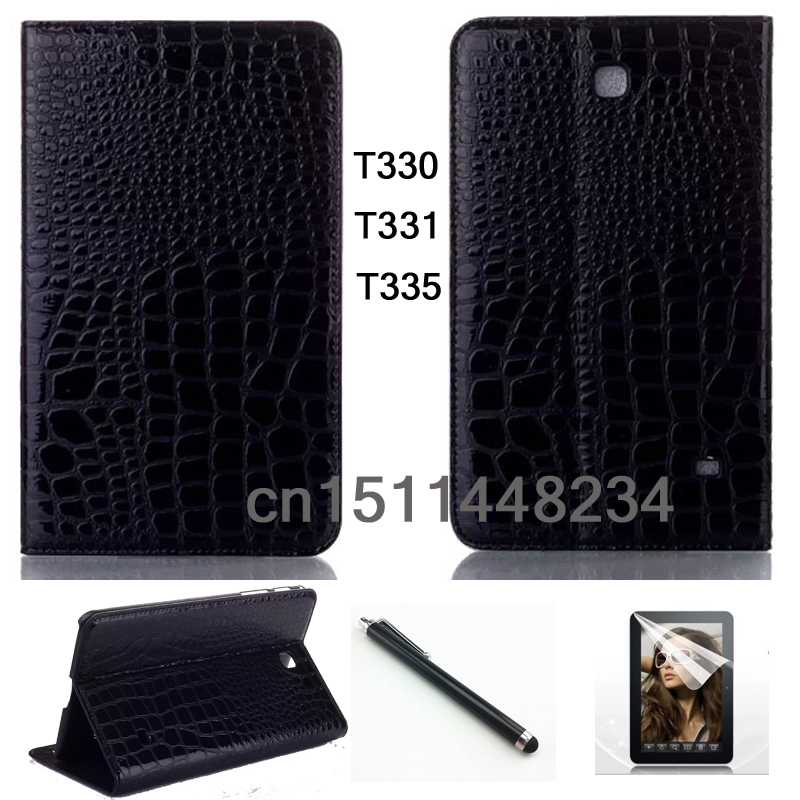 pen+Film+luxury Fashion crocodile leather case Smart cover for samsung galaxy Tab 4 8.0 T330 T331 T335 Tablet cases