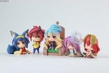 6pcs/Set Anime NO GAME NO LIFE Shiro Sora Jibril Hatsuse Izuna Steve Q Version PVC Action Figure Collectible Model Toys Gift 6CM