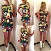 Women S Sleeveless Bodycon Dress Camouflage Cartoon Mouse Pencil Dress Letter Print Sexy Mini Summer Dress