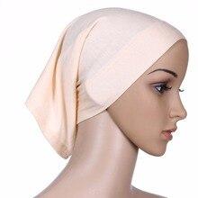 Islâmico Muçulmano Underscarf Hijab Lenços de Cabeça Lenço de Algodão das Mulheres Cobrir Tampa Da Cabeça do Lenço Islâmico Muçulmano Headwrap Gorro Sólida
