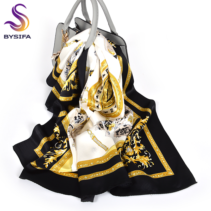 [BYSIFA] Black Gold White   Scarves   Women Elegant New 100% Silk   Scarf   Shawl Printed Fall Winter Ladies Brand   Scarves     Wraps   88*88cm
