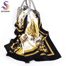 [BYSIFA] Black Gold White Scarves Women Elegant New 100% Sil