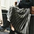 Yomay Корейский Металл Цвет Плиссированные Бархат Юбка Женщины Высокой Талией Новая Мода Одежда Зимние Женские Vintage Повседневная Юп