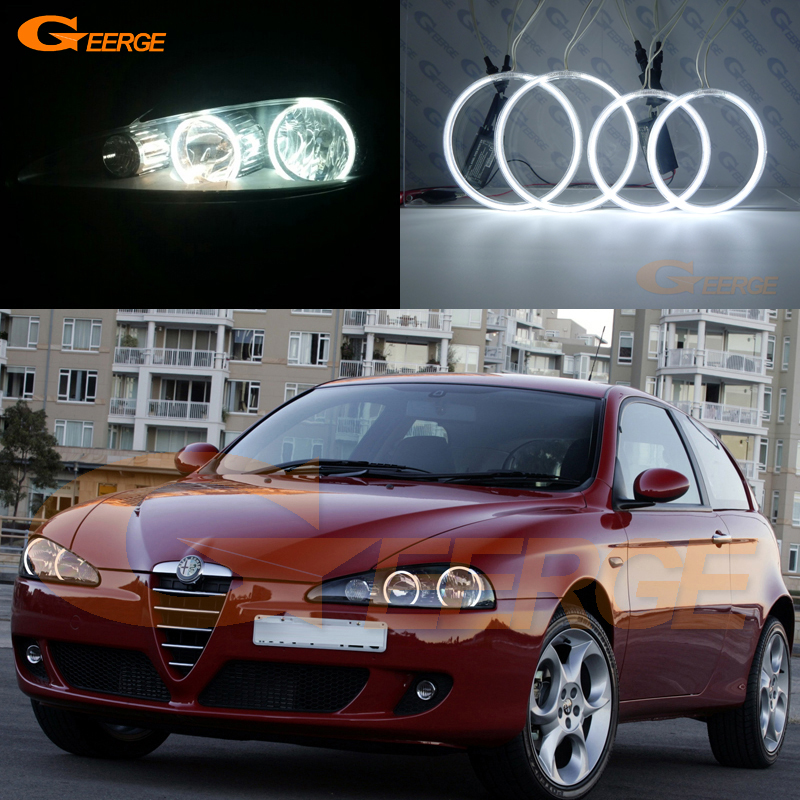 все цены на For Alfa Romeo 147 2005 2006 2007 2008 2009 2010 Excellent angel eyes Ultra bright illumination CCFL Angel Eyes kit Halo Ring онлайн