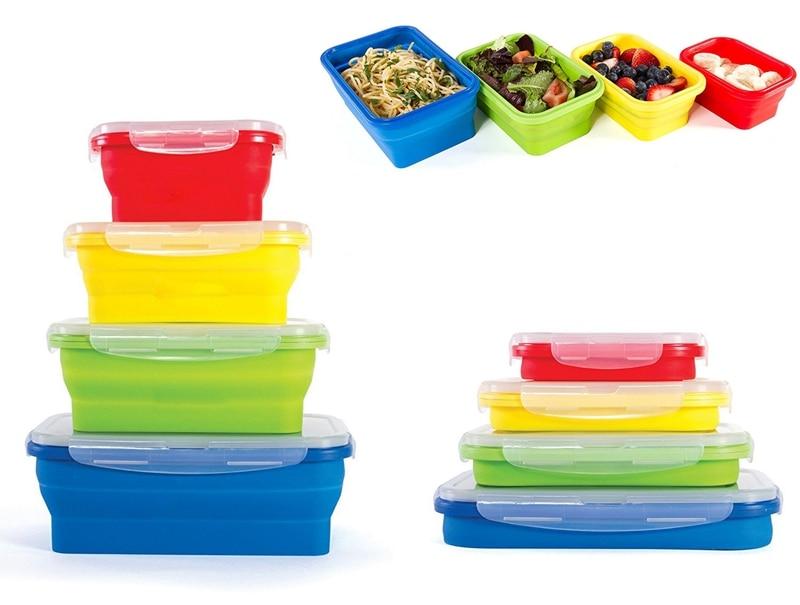 4 Stks / set Draagbare Siliconen Opvouwbare Lunchbox Voedsel - Keuken, eetkamer en bar