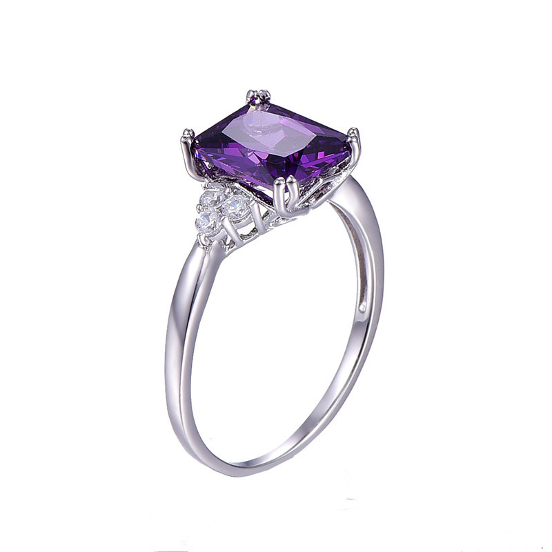 BONLAVI 5.25ct 8*10mm Amethyst Brand Jewelry Ladies 925 Sterling Silver Square Rings High Quality Engagement Ring Size 5-10