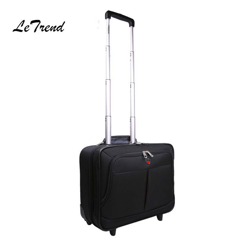 LeTrend Multifunction Oxford Business Rolling Luggage Spinner 18 inch Carry On Computer Trolley Travel Bag Men Suitcase Wheels