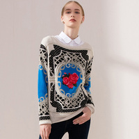 Spring Autumn Winter Runway Pullover Women S High Quality Luxury Print Floral Sweaters Europe Fashion Brand