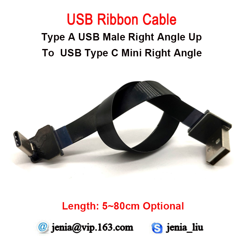 5 To 80 Cm Flat Ribbon Usb Metal Cable 90 Degree Mini Type C Male To Male Type A Right Angled UP Ffc Ultra Thin Cable