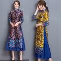 2017 New Ao Dai Qipao Autumn Winter Print High Waist Split ends Faux two piece Cheongsam Dress YL768